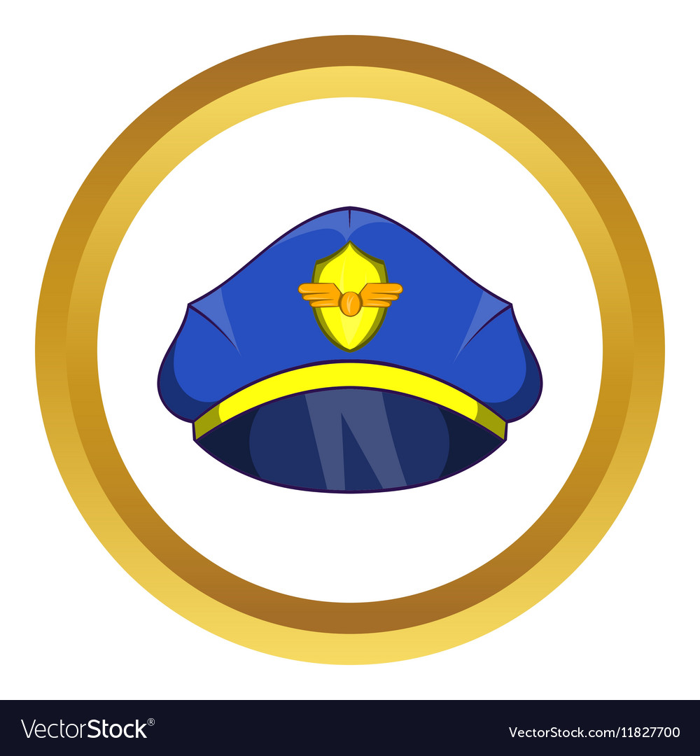Blue pilot cap with badge icon vector image