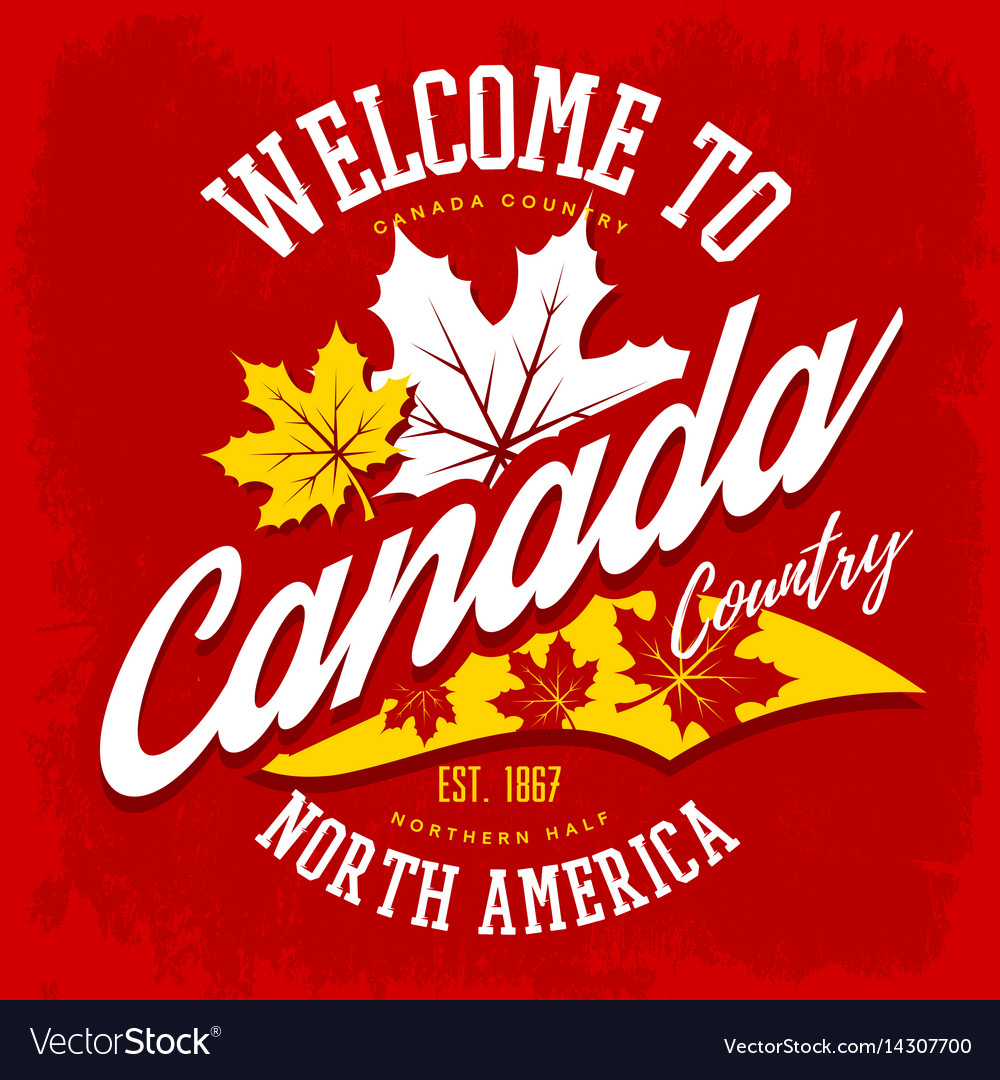 Canada country welcome sign with maple leaf