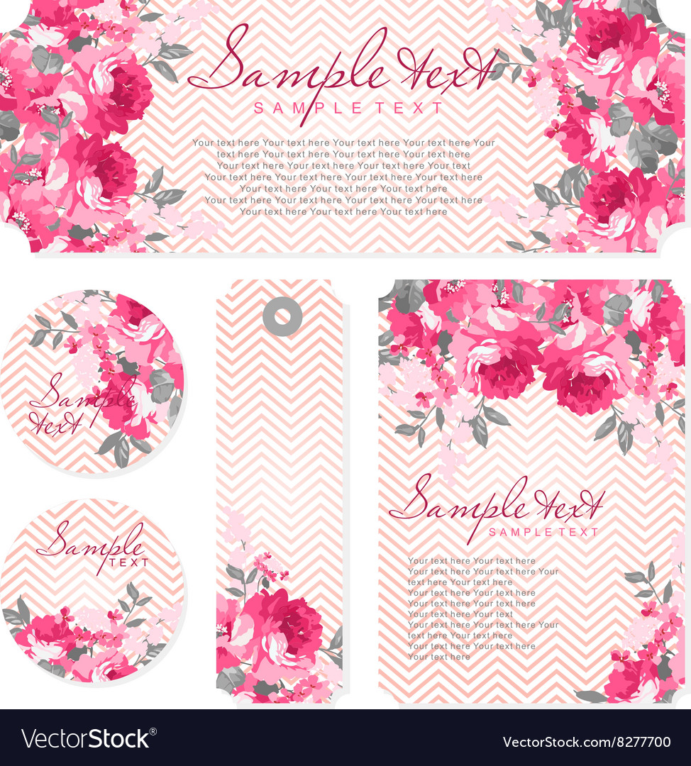 Card with pink roses and chevron