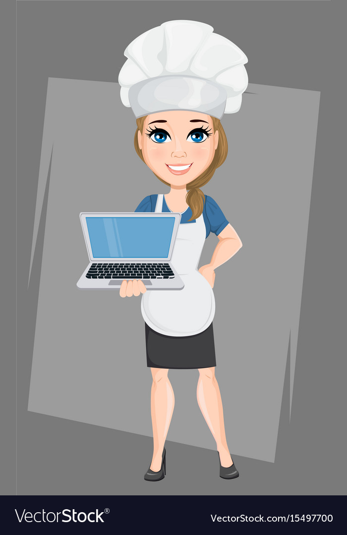 Chef woman with laptop cute cartoon character vector image
