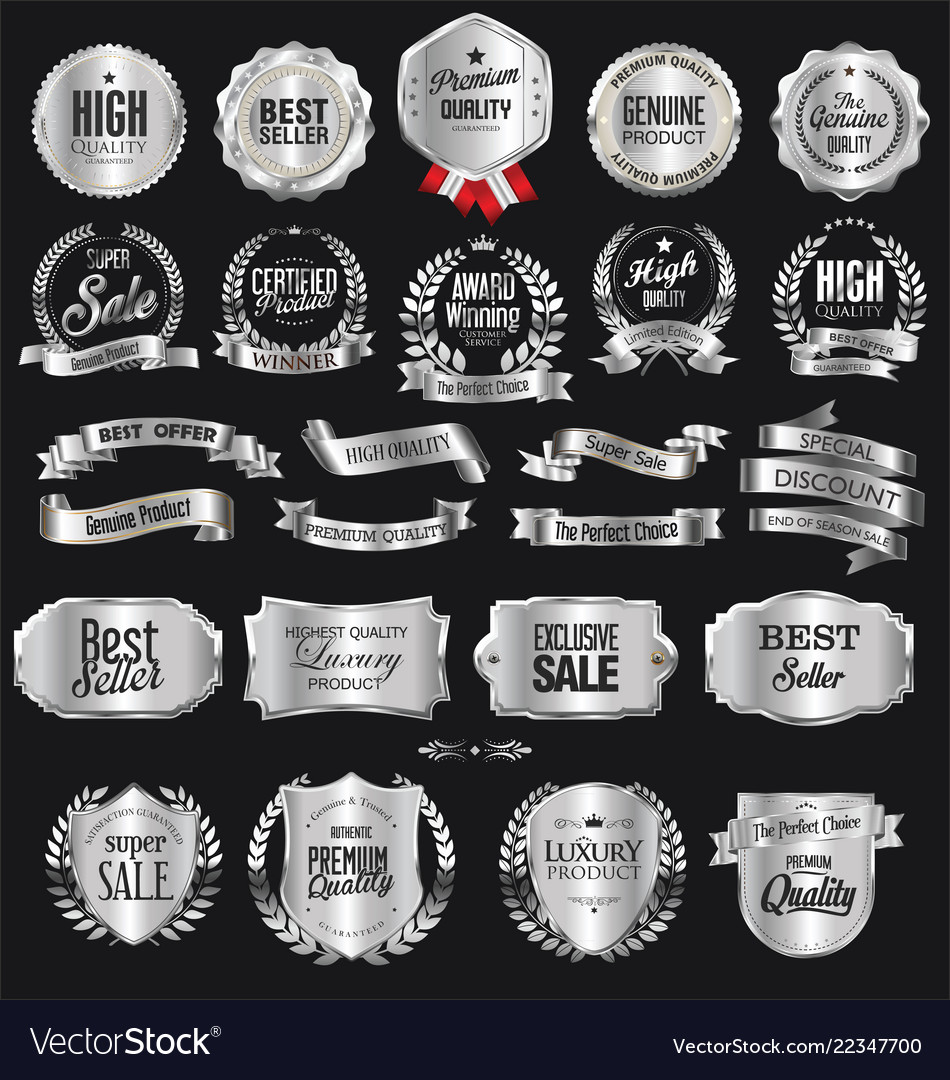 Collection of silver badges and labels retro