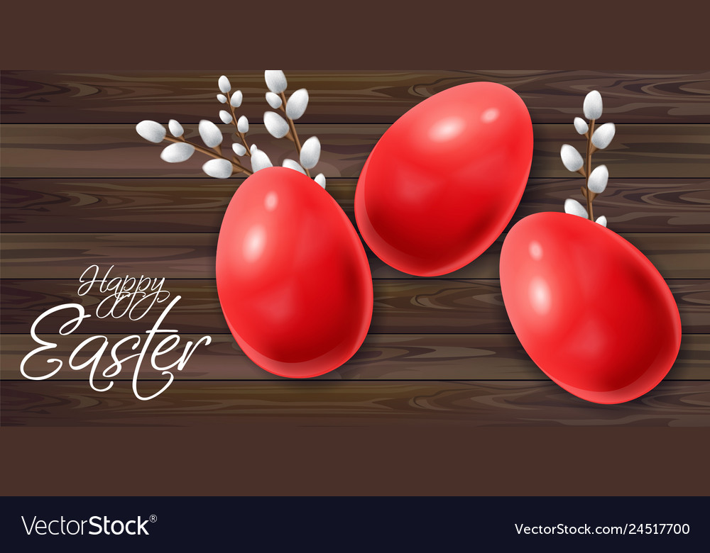 Easter eggs realistic happy holiday card