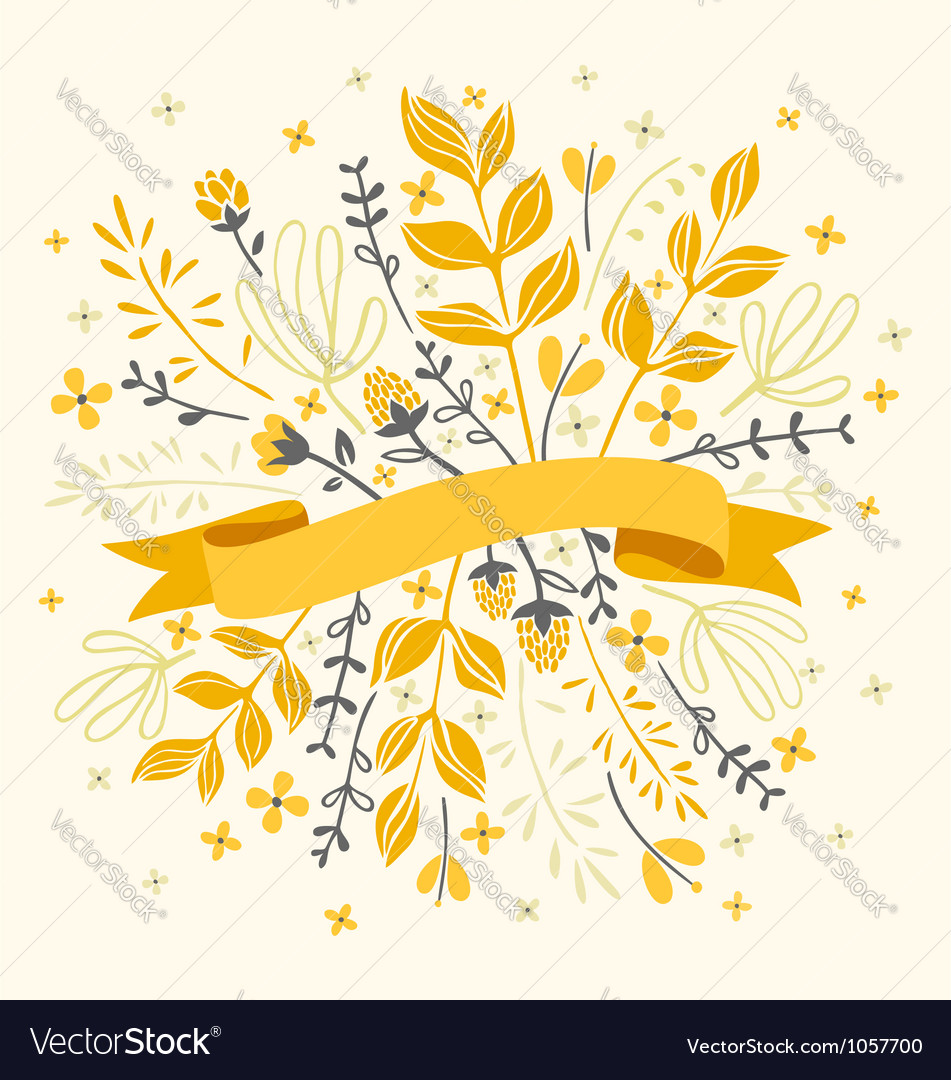 Florals and ribbon vector image