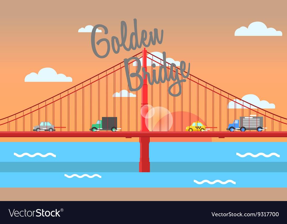 Golden bridge vector image