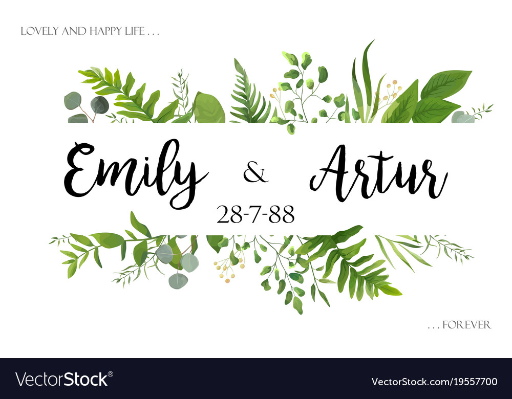 Greenery wedding floral invite invitation card Vector Image