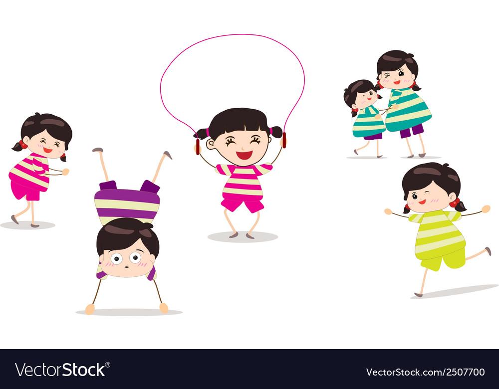 Little children doing skipping against white vector image