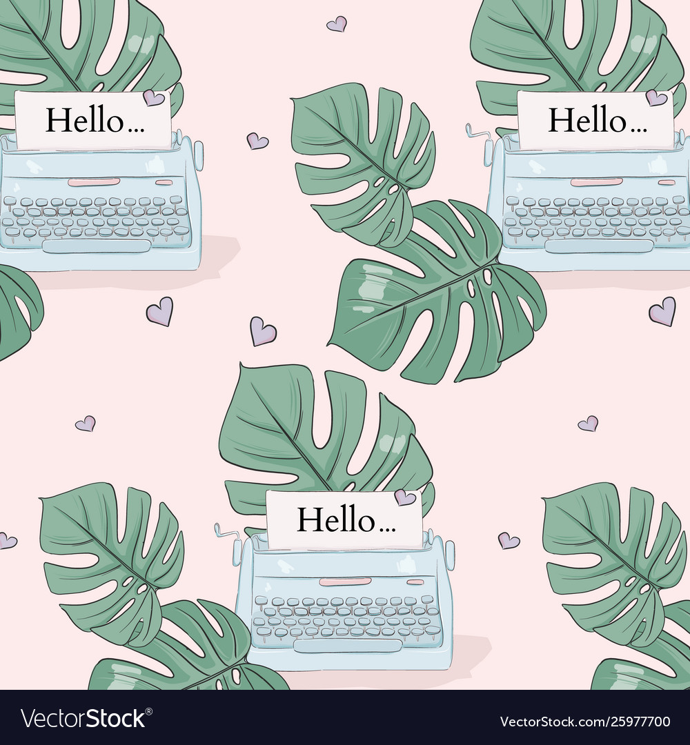 Monstera leaves and typewrite pattern tropical