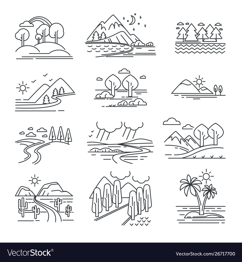 Outline landscapes isolated natural views plants