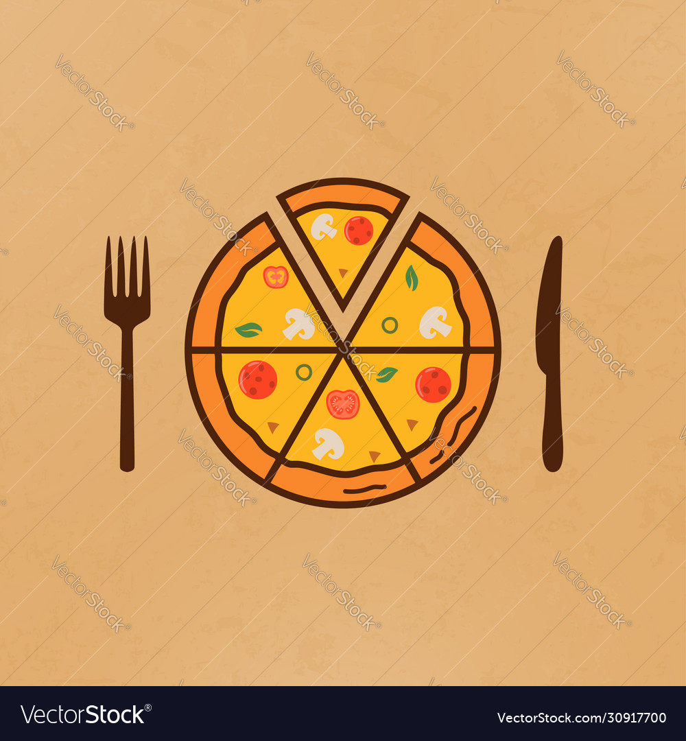 Pizza and near it a knife and fork