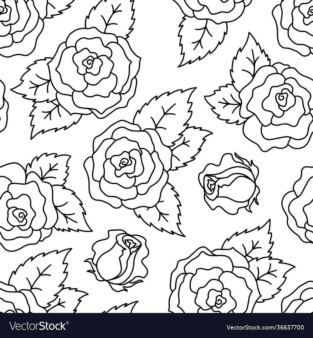 Roses black and white seamless linear pattern