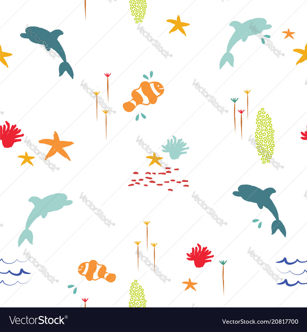 Sea fish doodle summer pattern background