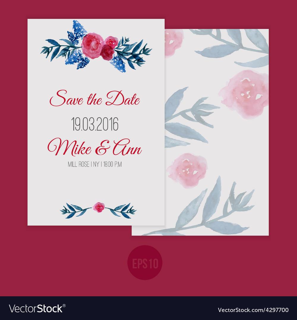 Watercolor template save the date with Royalty Free Vector