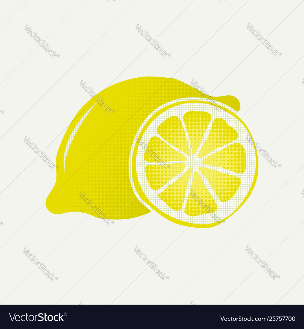 Yellow lemon fruit slice symbol