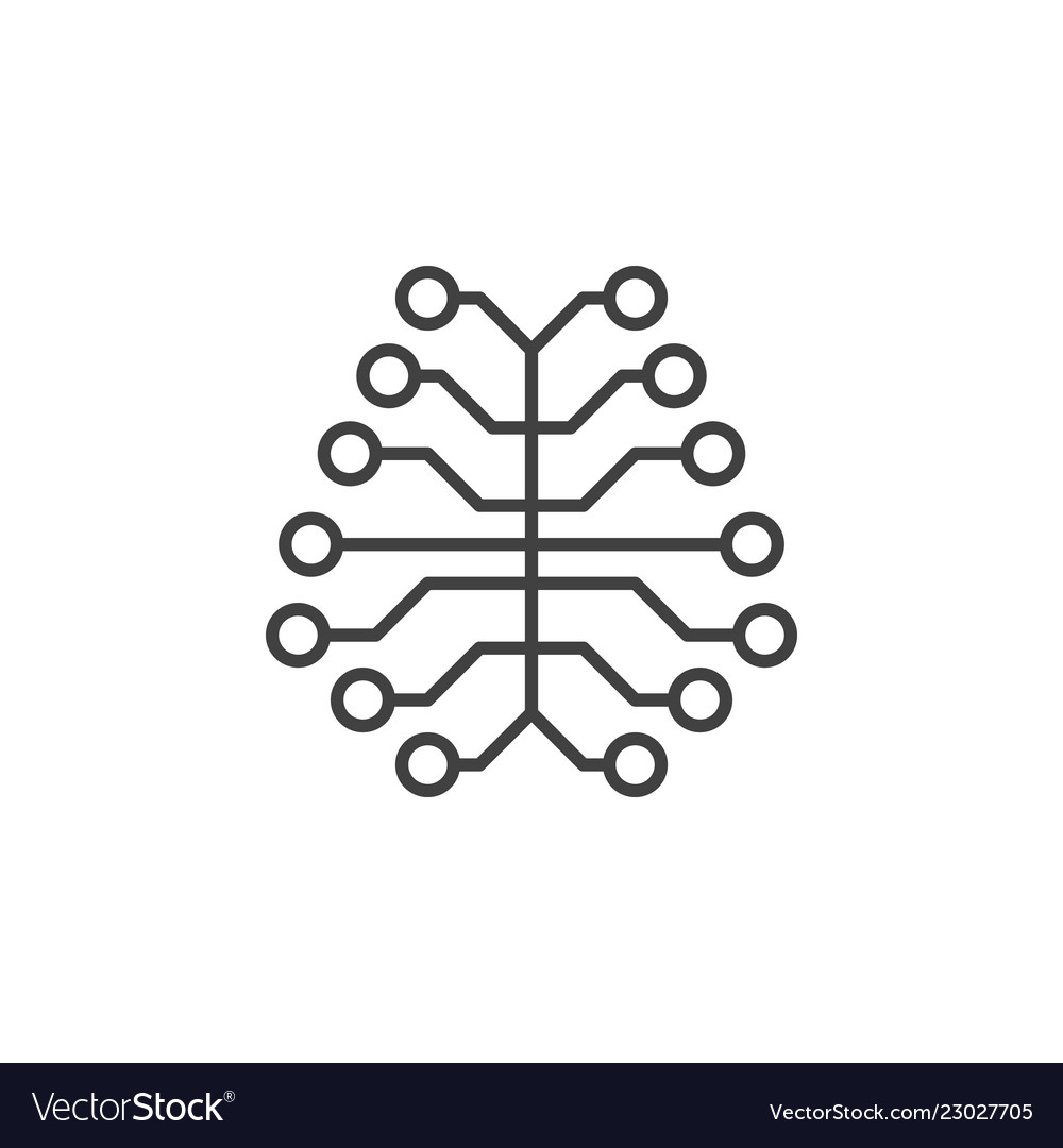 Ai digital brain concept outline icon or design