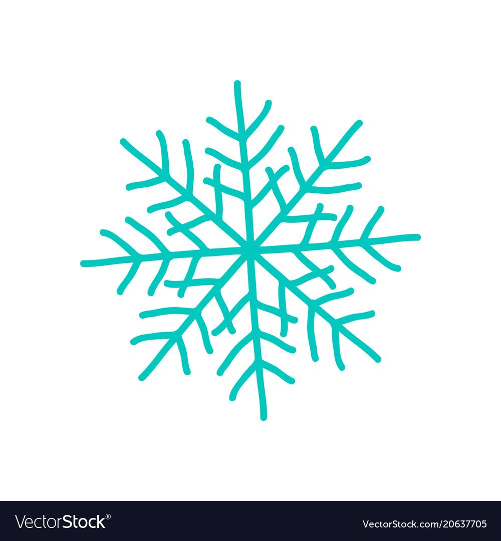 Big blue snowflake poster on vector image