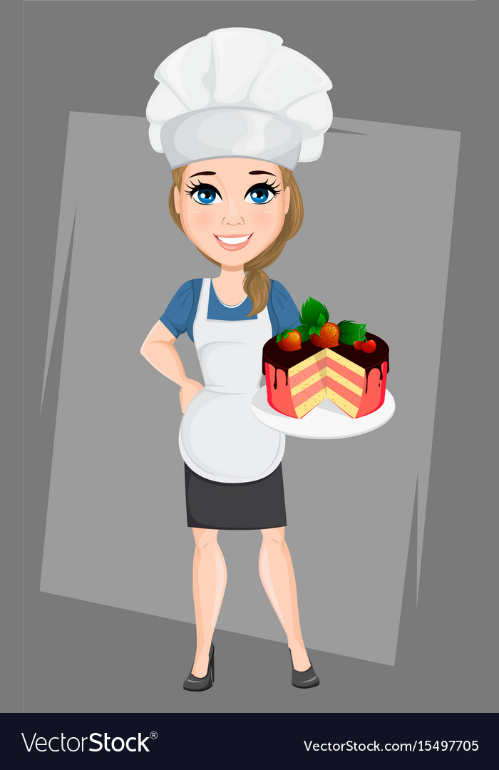 Chef woman with tasty sweet cake cute cartoon vector image