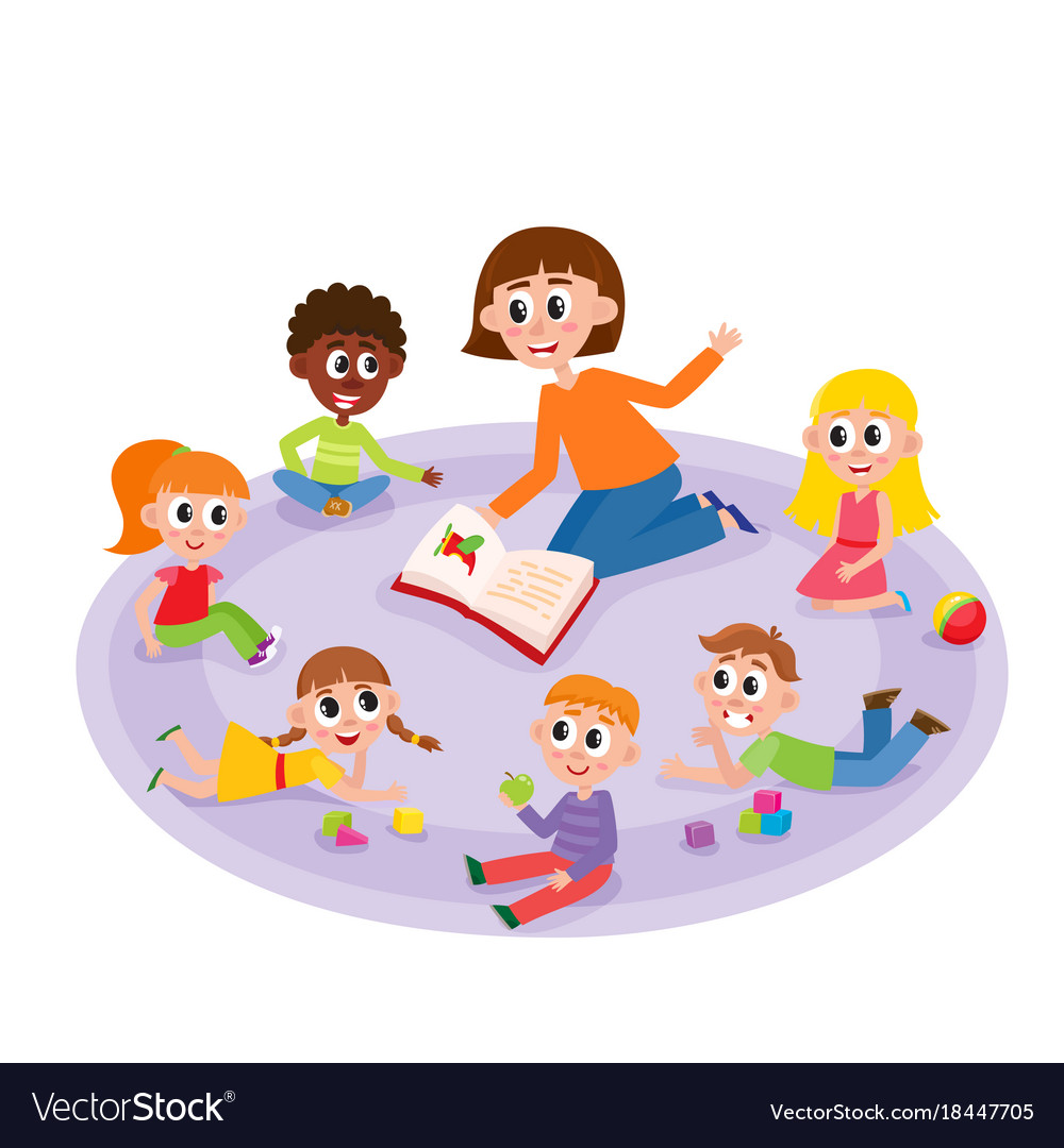 kindergarten kids and teacher reading a book vector image story book clipart free story book clip art black white