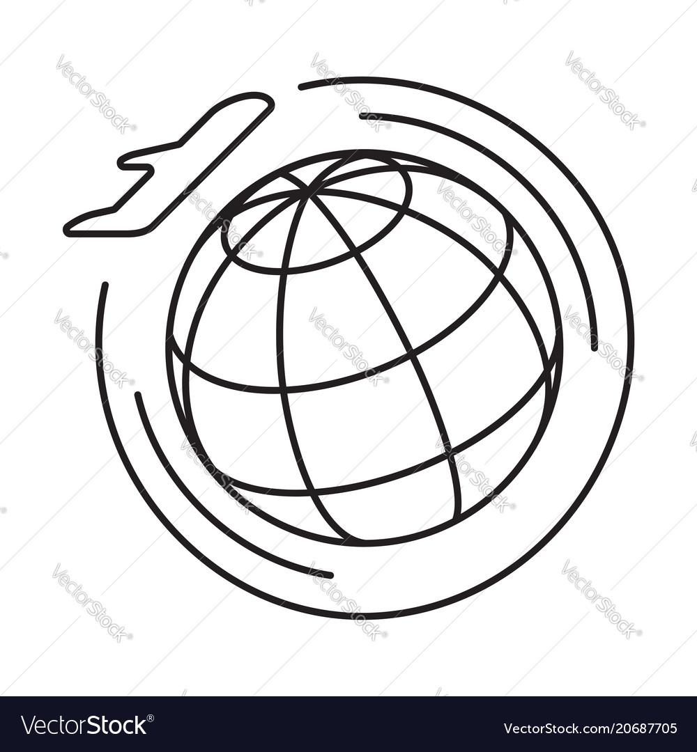 Line icon round the world flights vector image