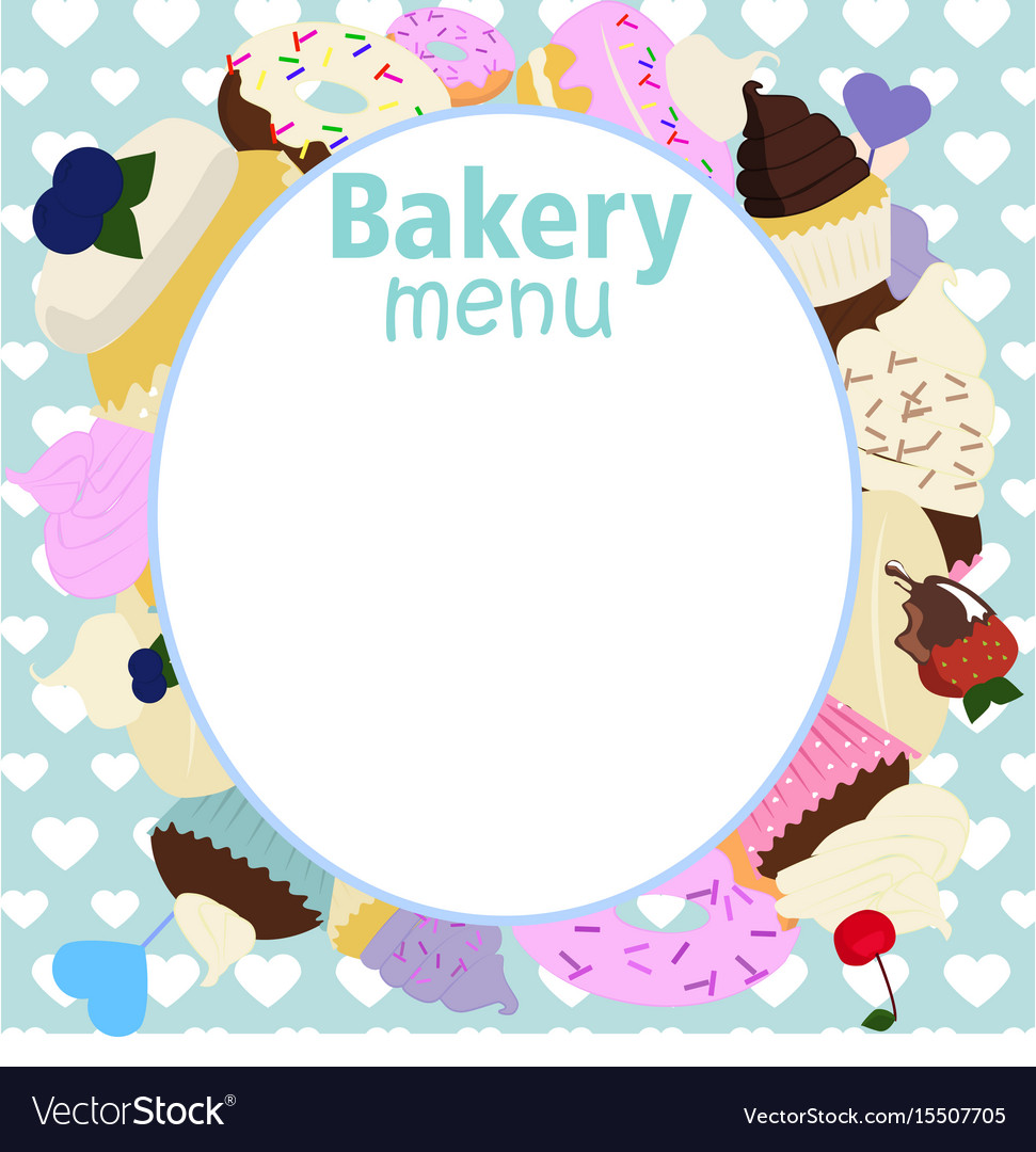 Menu Design For Cake House Bakery Royalty Free Vector Image