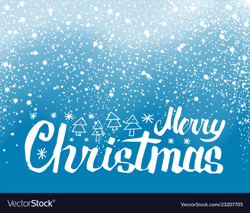 Merry christmas lettering spruce trees snowflakes