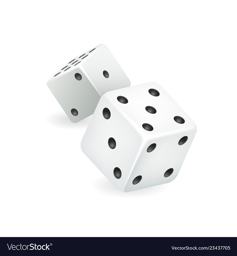 White dice 3d realistic casino gambling game