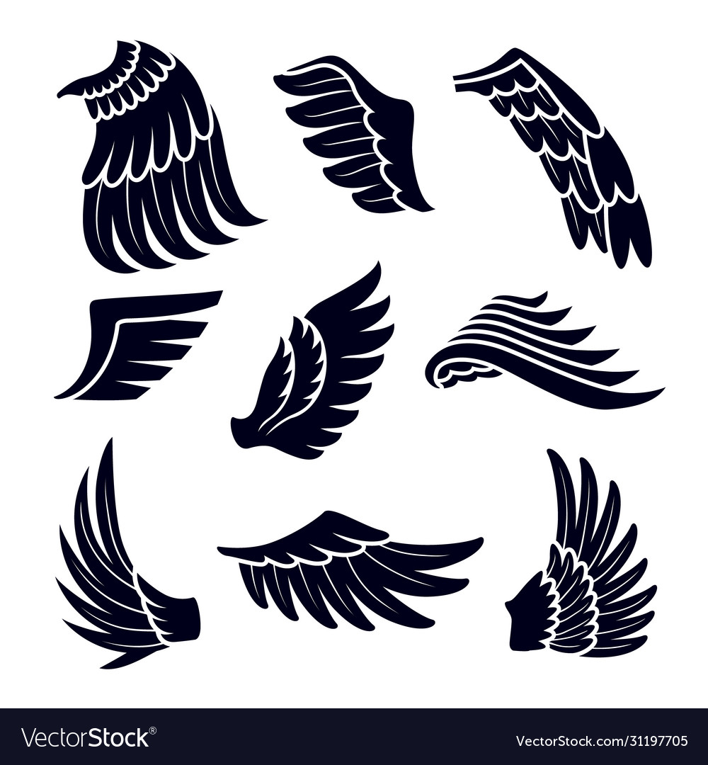 Wings black silhouettes icons set isolated