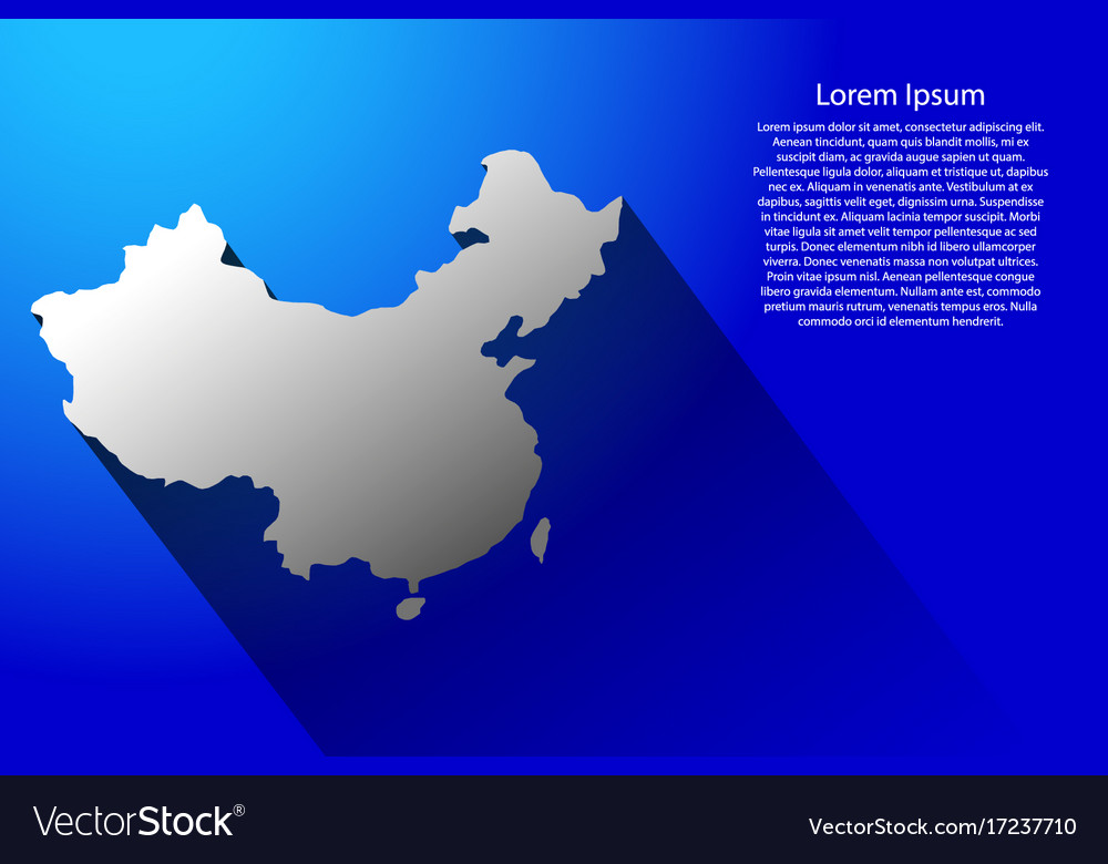 Abstract map of china with long shadow on blue