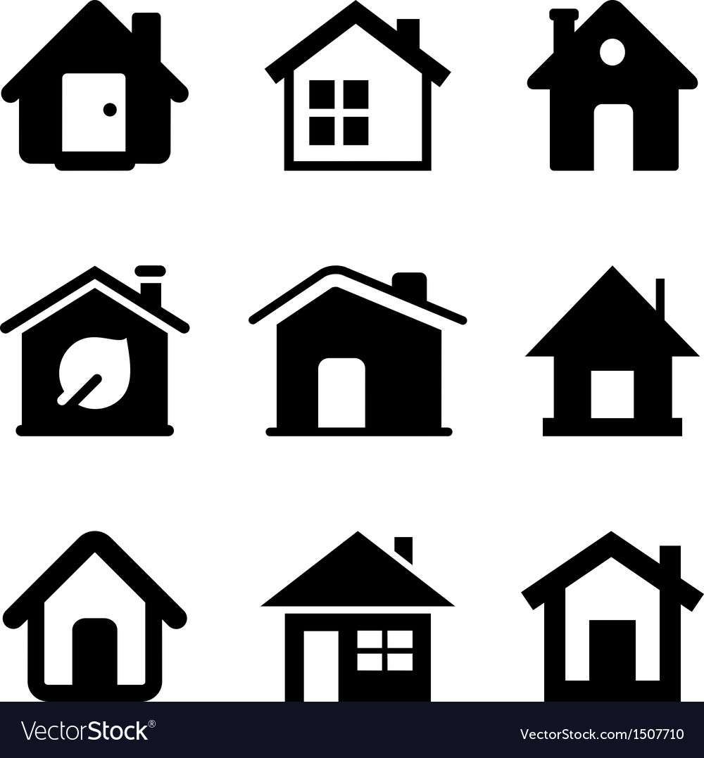 Black Home Icons Royalty Free Vector Image - Vectorstock-7429
