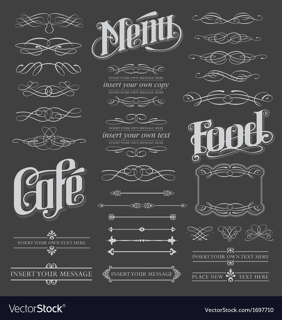 calligraphy chalkboard design elements royalty free vector
