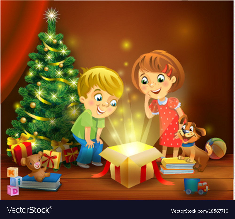Christmas miracle - kids opening a magic gift