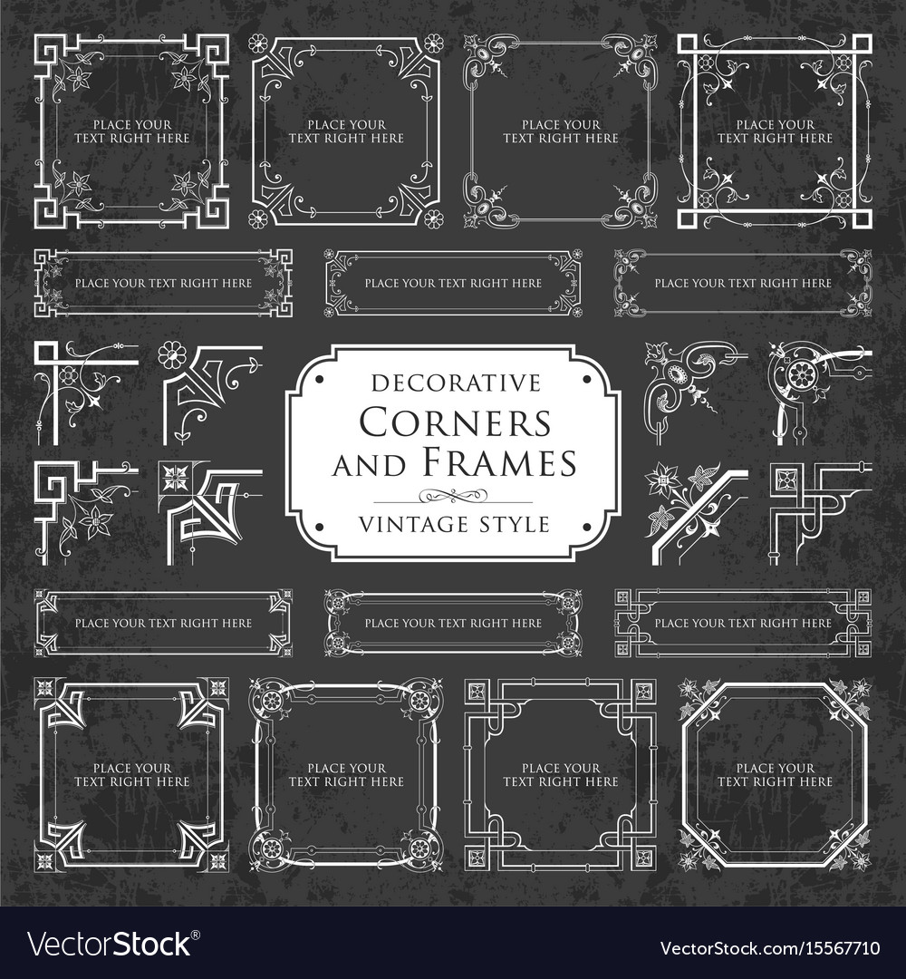 Decorative Corners And Frames On Chalkboard Vector Image