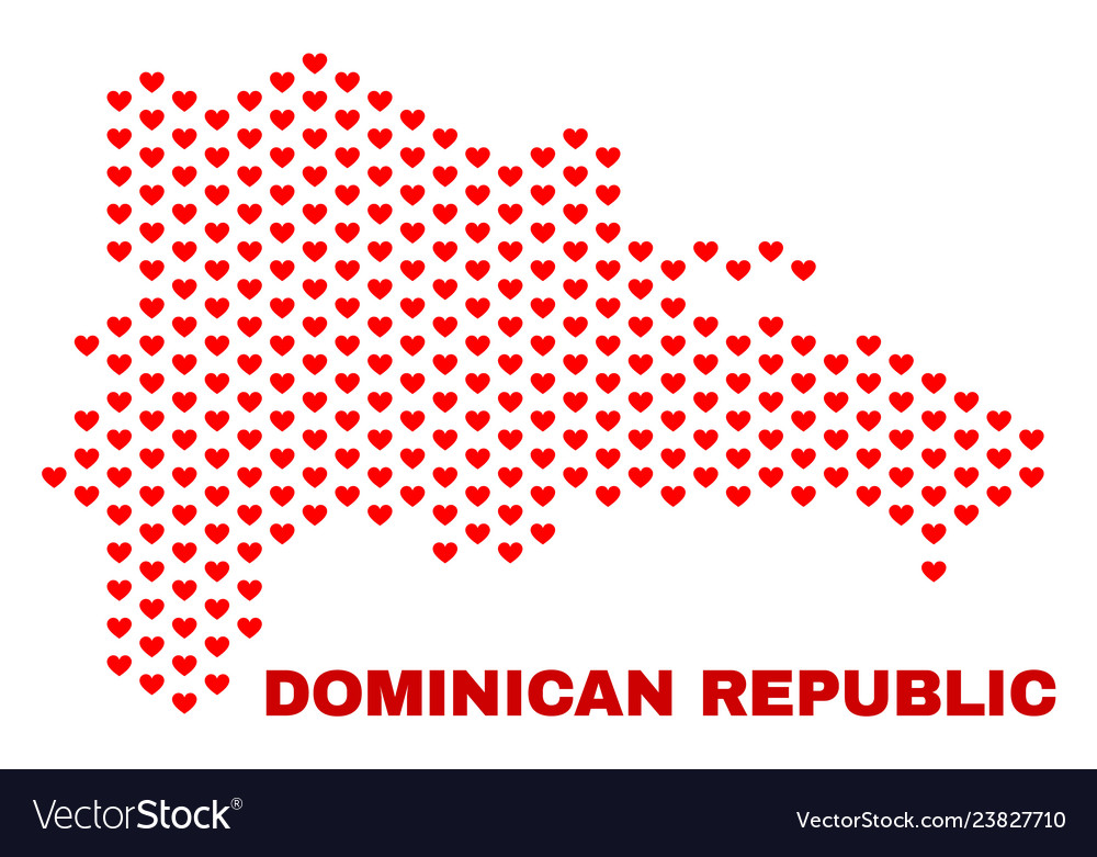 Dominican republic map - mosaic of valentine