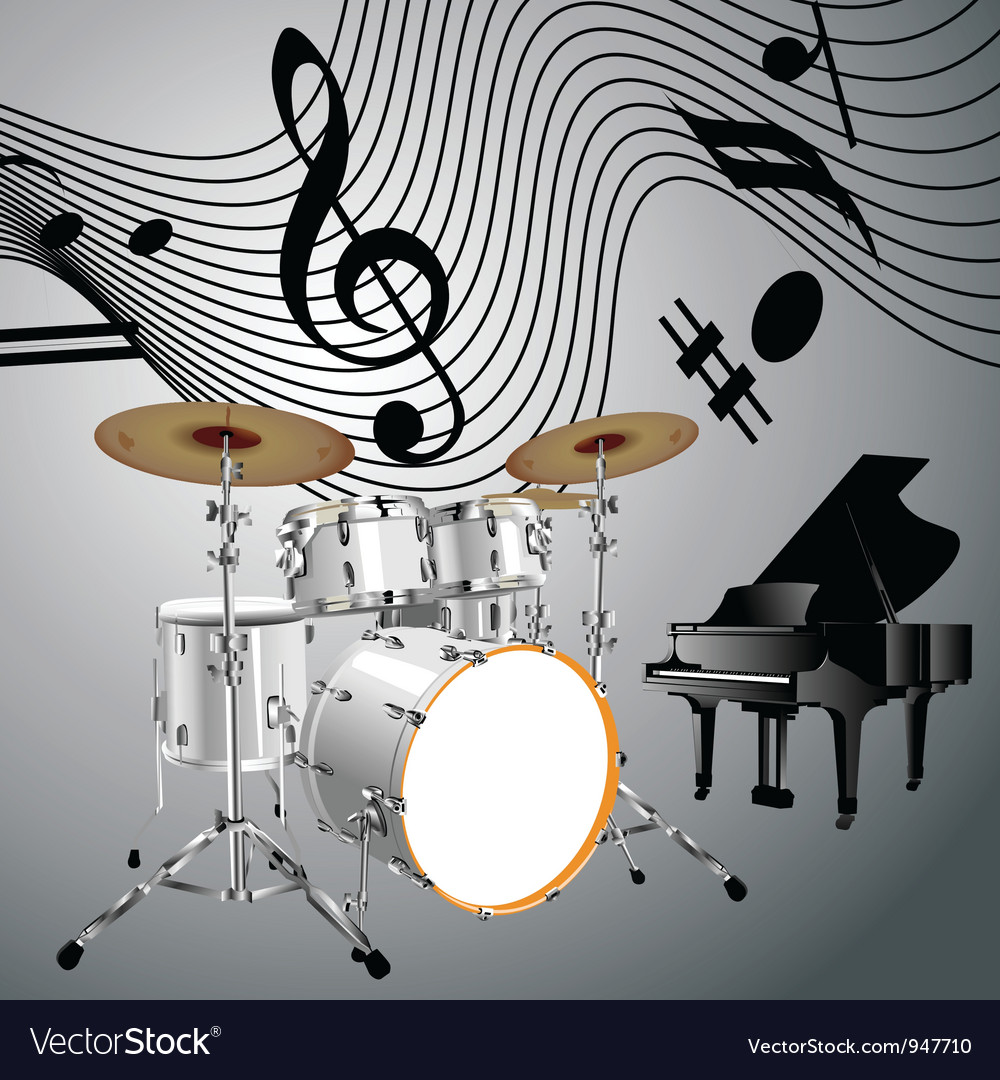 Drum set and piano