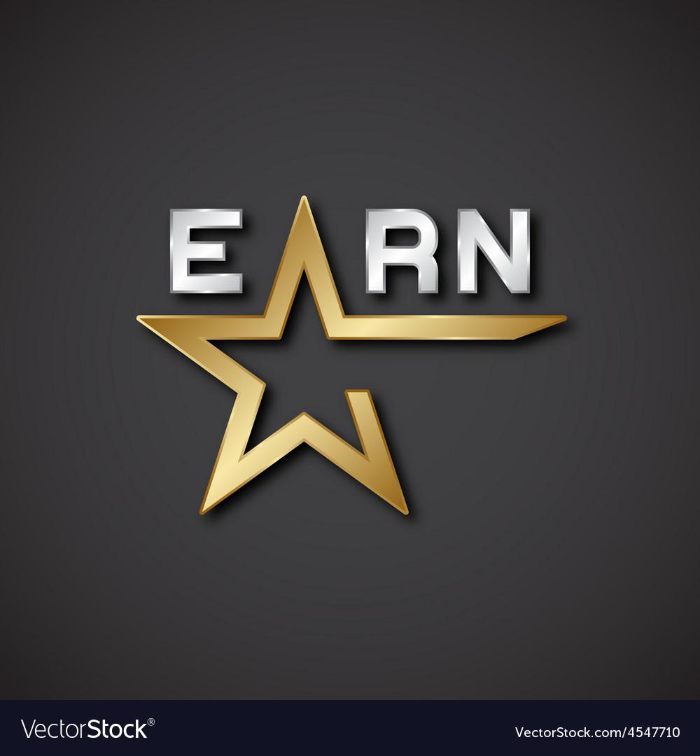 EPS10 earn golden star inscription icon vector image