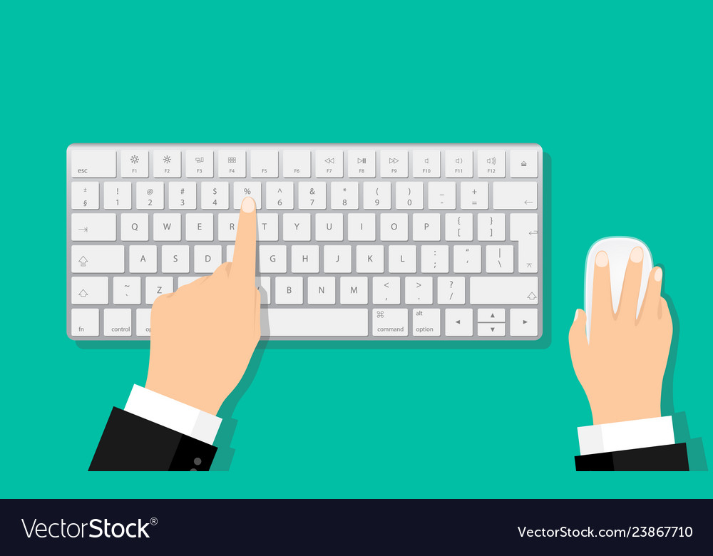 Flat hands typing on white keyboard with mouse