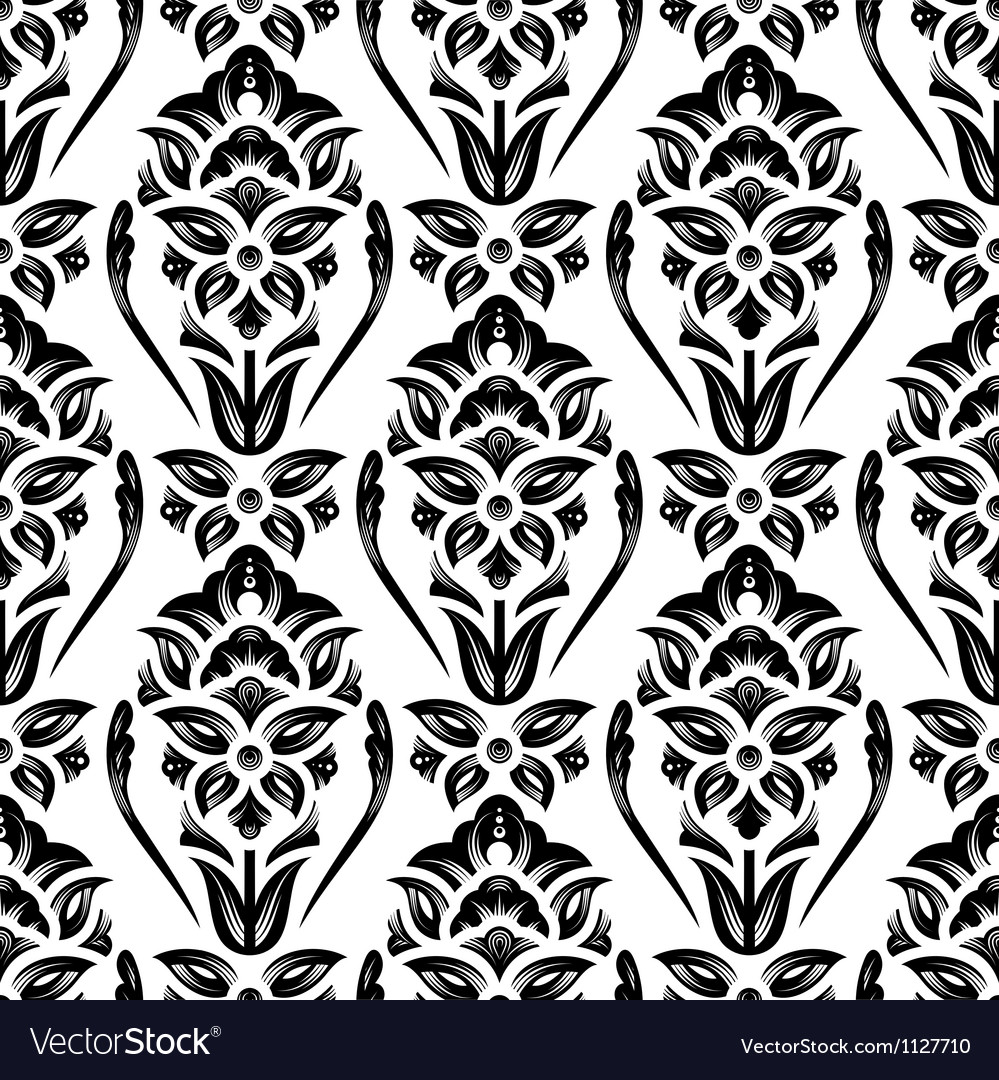 Floral Damask Wallpaper Royalty Free Vector Image