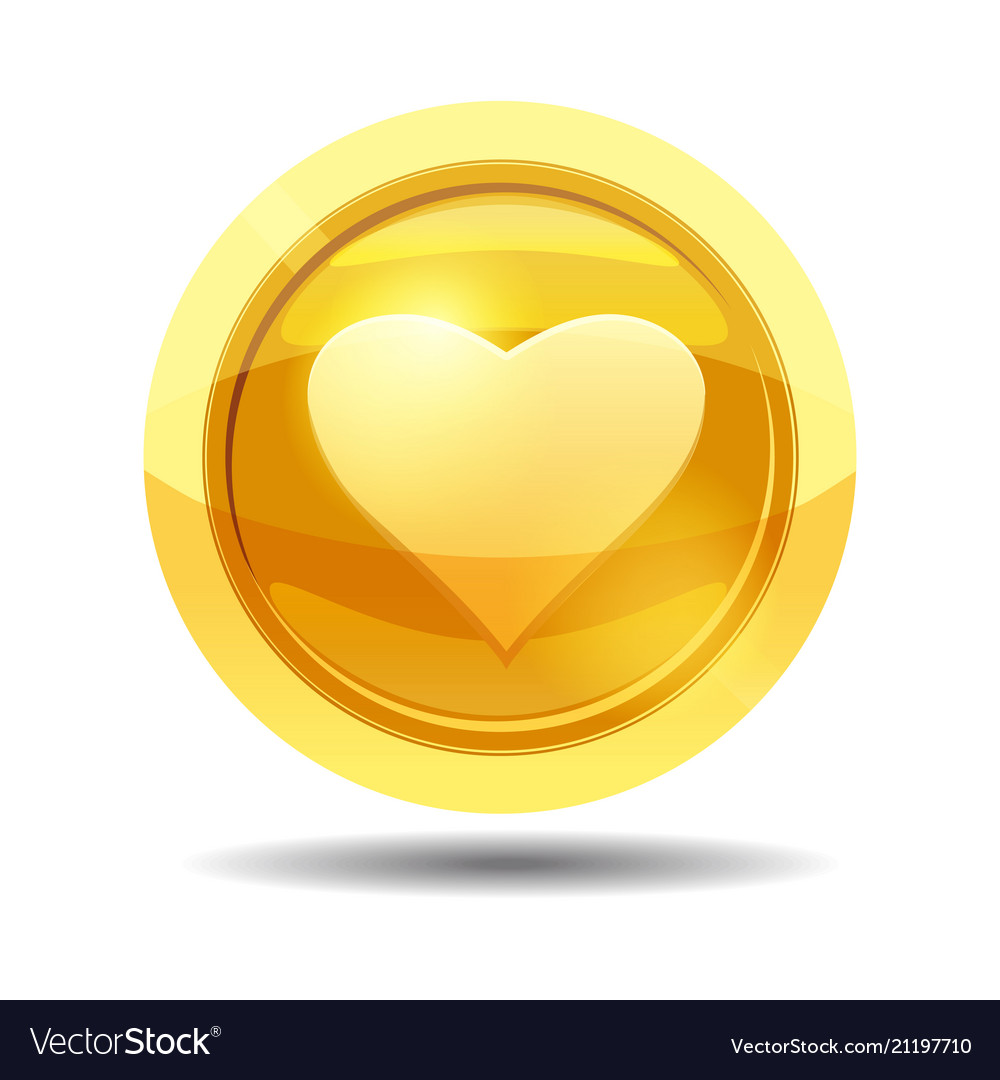 Game coin with heart game interface gold