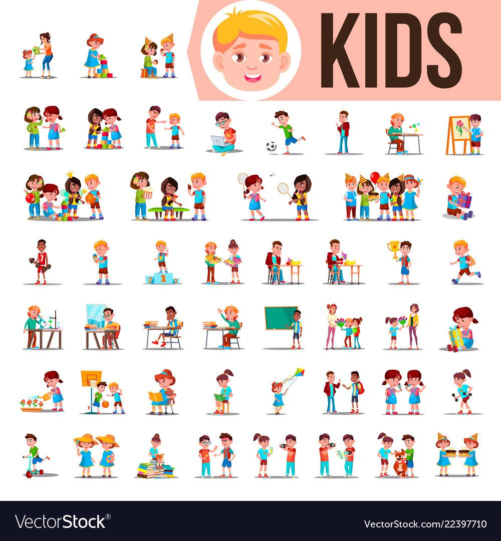 Kids children set baby lifestyle