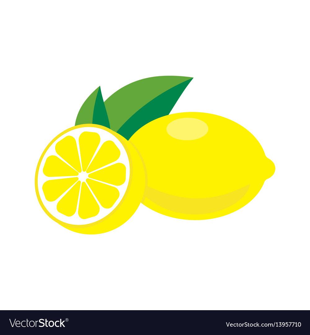 Lemon with leaves