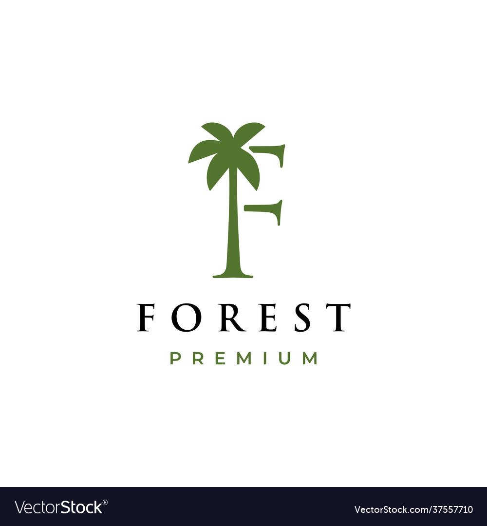 Palm tree f letter mark logo icon