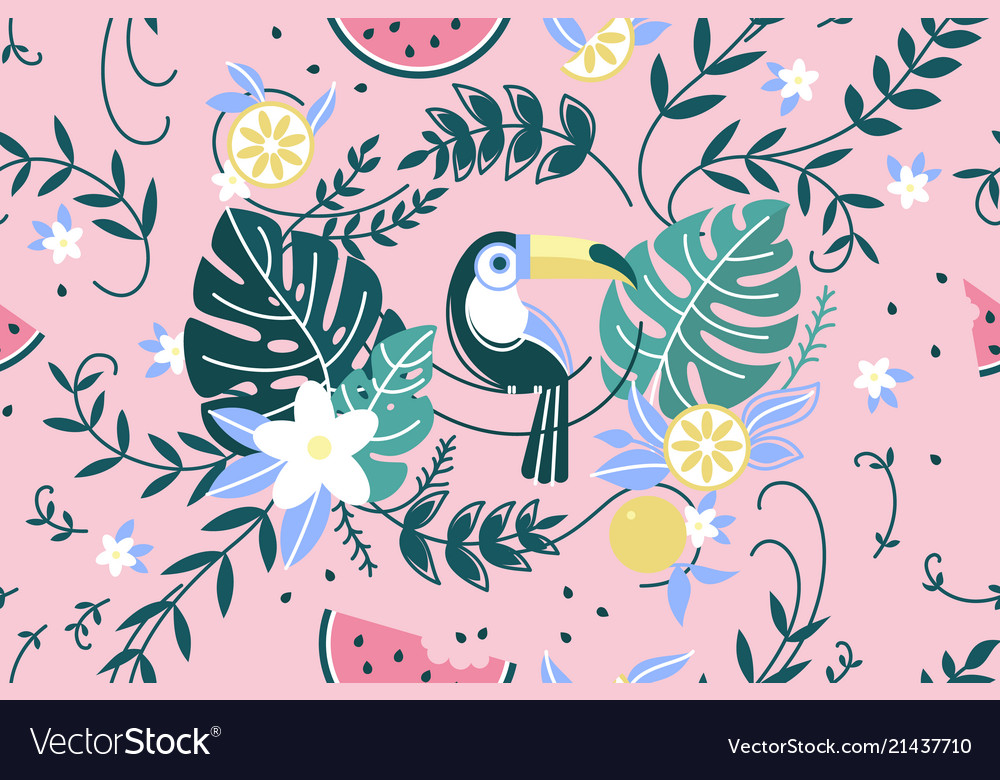 Pattern with green leaf palm and parrot