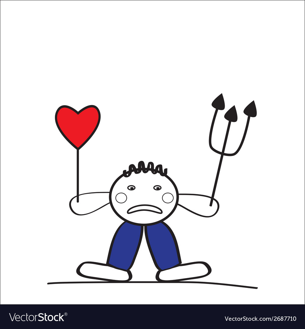 Sad man with a broken heart because of love vector image