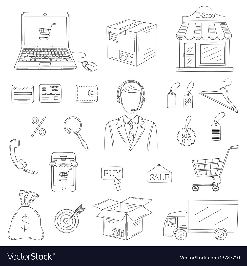 Set hand drawn e-commerce icons set