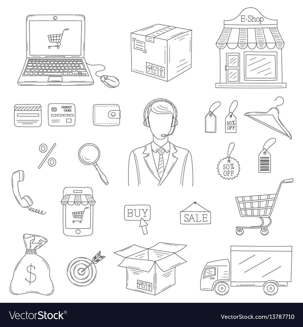 Set of hand drawn e-commerce icons set