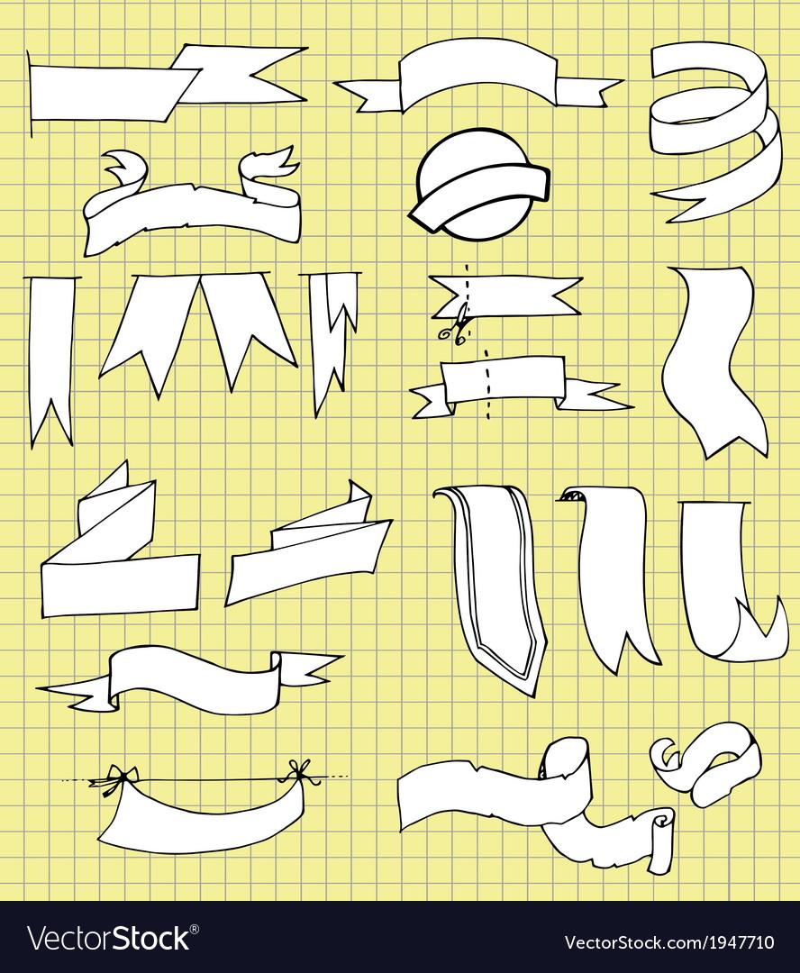 Set of Hand Drawn Ribbons