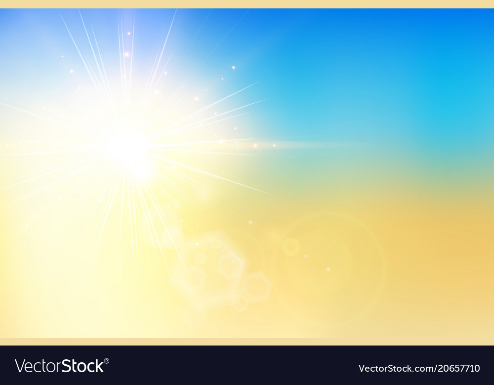 Summer sunset and sky with bokeh flare on blur