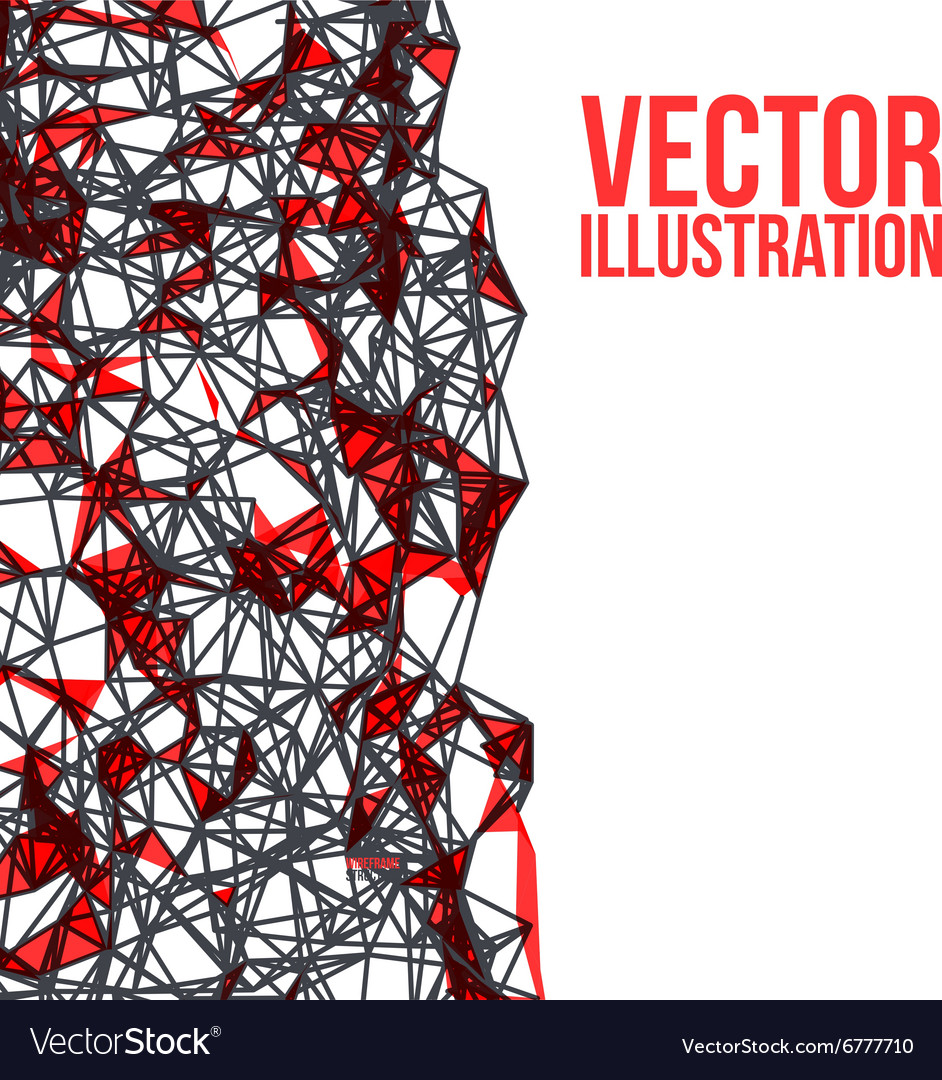 Wireframe polygonal background Abstract form with vector image