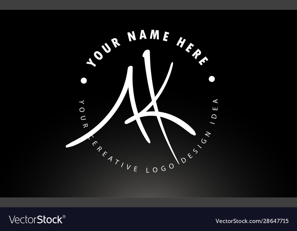 Ak Handwritten Letters Logo Design With Circular Vector Image