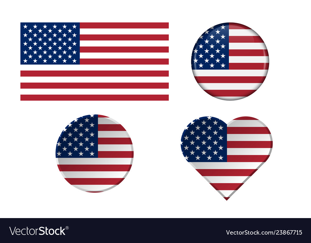 American flags in different shapes with frame