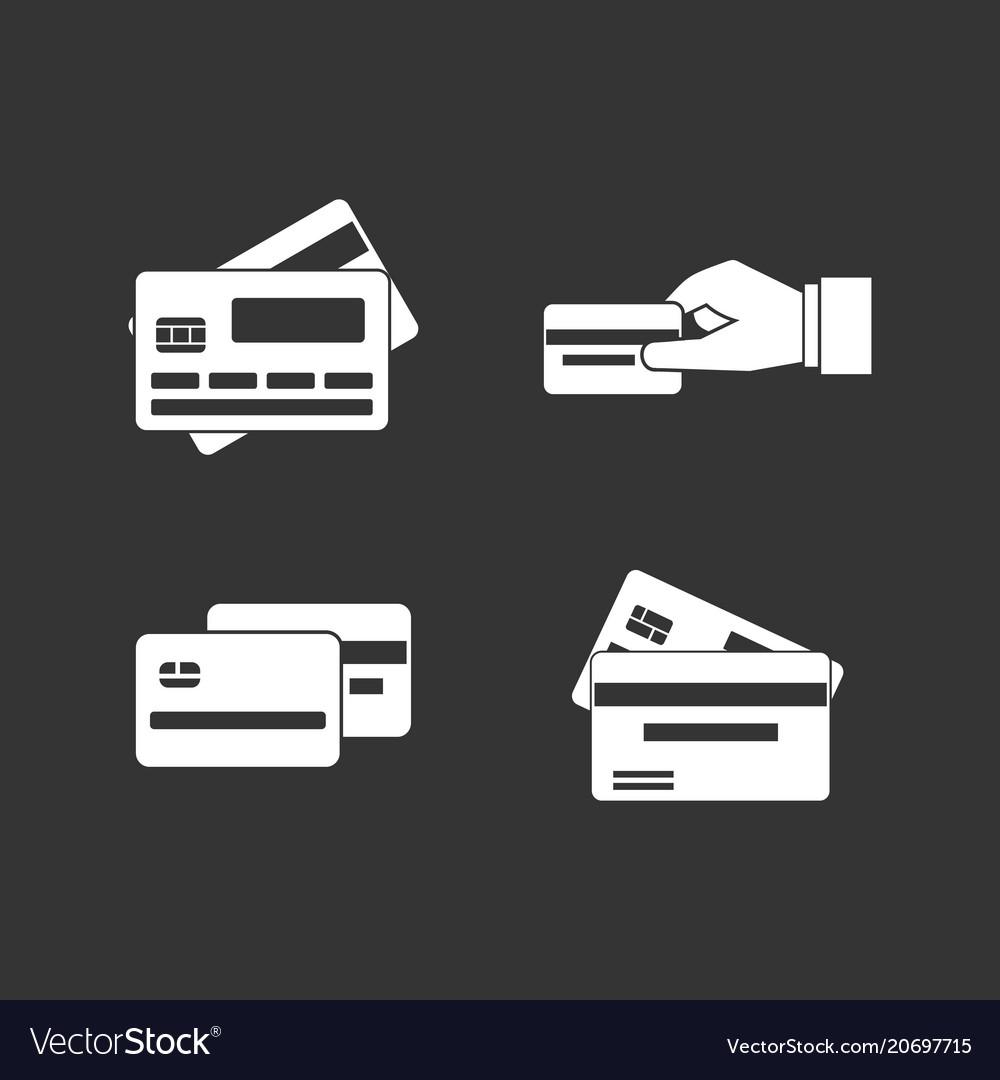 Credit card icon set grey